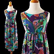 Vintage 1960s Hawaiian Barkcloth Dress Empire Waist Psychedelic Print Maxi B34 Sz S - XS