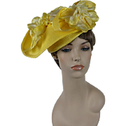 Vintage Hat Bright Yellow Straw Church Lady Hat by Ann Marie Sz 22.5