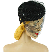 Vintage 1940s Tilt Hat Embellished and Veiled Black Sequin Asymmetrical by Carol Brent