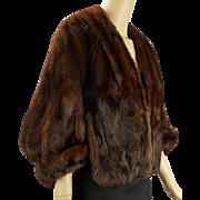 Vintage 1950s Dark Brown Ranch Mink Cape - Jacket by Filenes