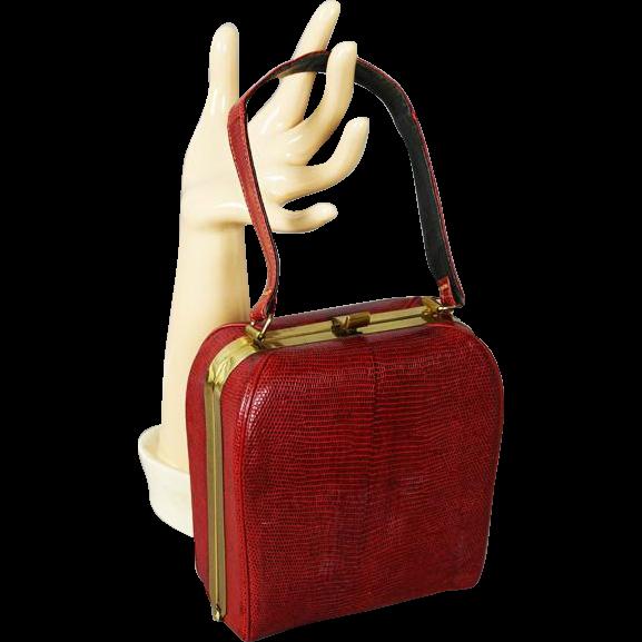 Vintage 1950s Handbag Red Lizard Box Purse