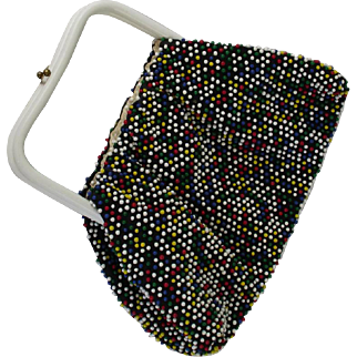 Vintage 1950s Candy Dot Reversible Beaded Handbag Multi Colored and White