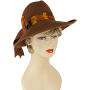 Vintage Hat Medium Brown Wide Brim Fedora with Feather Hatband by Kurt Jr Sz 22