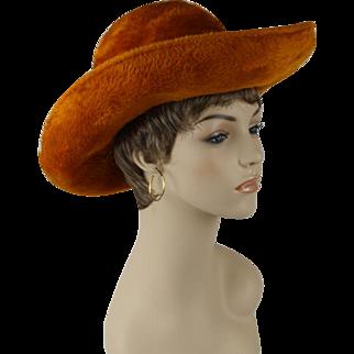 Vintage 1970s Hat Faux Fur Rust Wide Brim Breton Hat by Frank Olive Sz 21 1/2