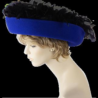 Vintage Hat Royal Blue Wide Upturned Brim Embellished with Fly Away Black Feathers Sz 22