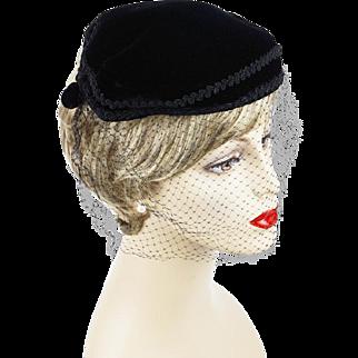 Vintage 1950s Hat Black Vevet Veiled Cocktail