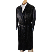Vintage 40s - 50s Mans Smoking Robe Black Satin Patterned by A Royal Robe Sz S