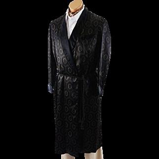 Vintage 40s - 50s Mans Smoking Robe Black Satin Patterned by A Royal Robe Sz S