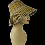 Vintage Foldaway Travel Bamboo Sun Hat Sunhat Sz 22