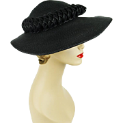 Vintage Hat Wide Brim Black Straw by Pinehurst Sz 22 1/2