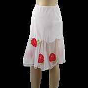 Vintage 1950s Half Slip Nylon and Chiffon Red Floral Applique Charmode Sz S