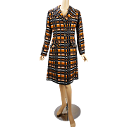 Vintage 1960s MOD Coat Abstract Pattern Brown Gold Black White B40 W36