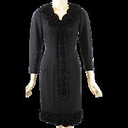 Vintage 1960s Black Crepe Ruffled Form Fitting Dress B36 W26 - Red Tag Sale Item