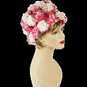 Vintage Hat Pink Floral Flowerpot Style Sz 22