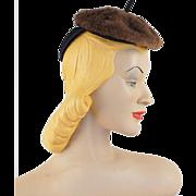 Vintage 1940s Hat Faux Mouton Tiny Tilt Style by Joan Frazier