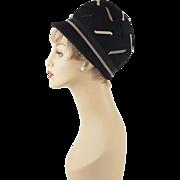 Vintage 1960s MOD Hat Black Brimmed Bubble Crown Sz 21 1/2