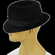 Vintage Black Trilby Fedora Hat Goldins Rego Park Sz 7 1/4