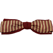 Vintage 1950s Batwing Bow Tie Bowtie Snap On Maroon and Beige Stripe over Maroon NWT in Box