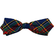 Vintage 1950s Bow Tie Bowtie Park Avenue Diamond Point Clasp On Snap On Green Blue and Red Plaid NWT Original Card