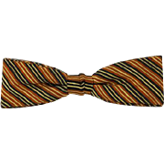 Vintage 1950s Batwing Bow Tie Bowtie Snap On Tan, Gold and Green Striped NWT