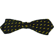 Vintage 1950s Bow Tie Bowtie Beau Brummell Diamond Point Clip On Black and Gold NWT Original Card