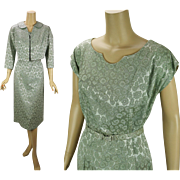 Vintage 1950s Dress and Jacket Pale Celery Green Brocade by Gloria Swanson B44 W34