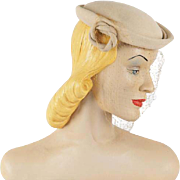 Vintage 1950s Tan Velour Veiled Beret by Amy
