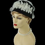 Vintage 1960s Hat Black Straw Cloche with White Florals