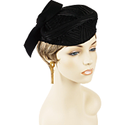 Vintage 1940s Tilt Hat Black Felt with Soutashe Braid Tipster Sz 22