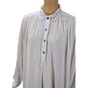 Vintage White Cotton Nightgown with Lavender Embroidery by April Cornell Sz M