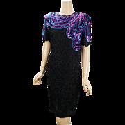 Vintage Black Silk Beaded Party Cocktail Dress by Royal Feelings Sz 6 B36 W30