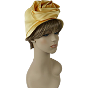 Vintage 1960s Hat High Sheen Yellow Satin Brimmed Cloche by Marilyn of California Sz 22