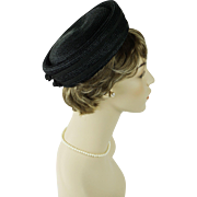 Vintage 1960s Hat Black Straw Pillbox by Evelyn Varon