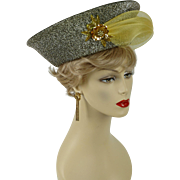 Vintage Church Lady Hat Upturned Gold Lame Brim with Netting