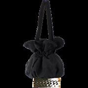 Vintage 1950s Handbag Black Twill Box Drawstring with Filigree Metal Base