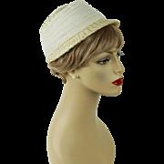 Vintage 1960s Hat White Straw Brimmed Cloche Thalhimers Sz 22