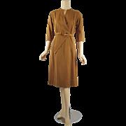 Vintage 1950s Dress Brown Gabardine Flare Skirt Wrap by Perkins Sz S B36 W25