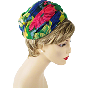 Vintage 1960s Hat Multi Colored Draped Chiffon Turban  Sz 22