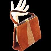 Vintage Handbag Brown Suede and Faux Lizard Envelope Purse