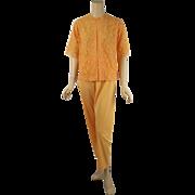 Vintage 1960s Butterscotch Lace Pajamas by Vanity Fair Sz 32