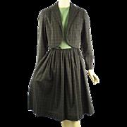 Vintage 1960s Green Plaid Shirtwaist Dress with Bolero Jacket by Gay Gibson B36 W26