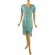 Vintage 1990s Aqua Silk Fringe Beaded Party Cocktail Dress by Mark and John II NOS Sz M B36 W28