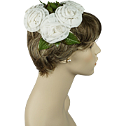 Vintage 1950s Hat Flowered Half Style with Large White Silk Florals and Greenery