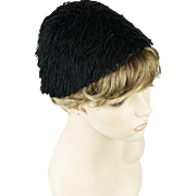 Vintage 1940s Hat Black Fringed Calot from Macys Sz 21
