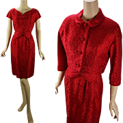 Vintage 1960s Dark Red Brocade Dress and Bolero Jacket by Branell B38 W27