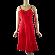 Vintage 1950s Slip Red Trafedda Zipper Closure by Saucy Barbizon Sz 12 Misses B36 W27