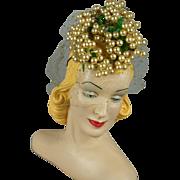 RESERVED Vintage 1940s Bes Ben Whimsey Pearl Tilt Hat