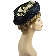 Vintage 1960s Hat Navy Blue Straw Breton with Daisies by Evelyn Varon Sz 22