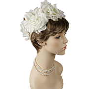 Vintage 1960s Hat Open Crown Wired Wreath of White Silk Roses by Loni