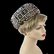 Vintage 1980s Needlepoint Pillbox Hat by Mr John Today Sz 21 1/2